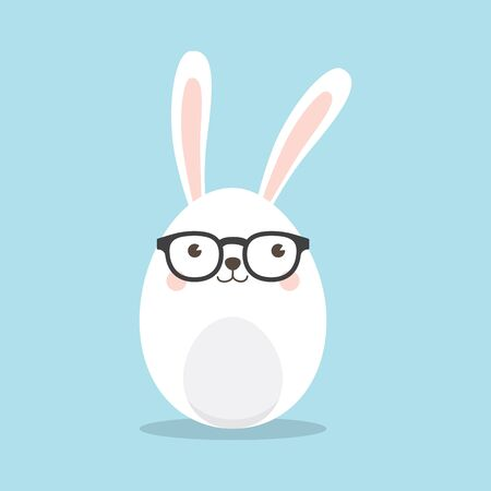 A Cute Rabbit Geek, nerd character with funny nerd glasses isolated on sky blue background. Easter greeting card, invitation with white cute rabbit on sky blue background.