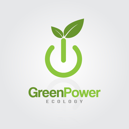Green Energy Power button with leaves for ecology, eco friendly, natural business or product.