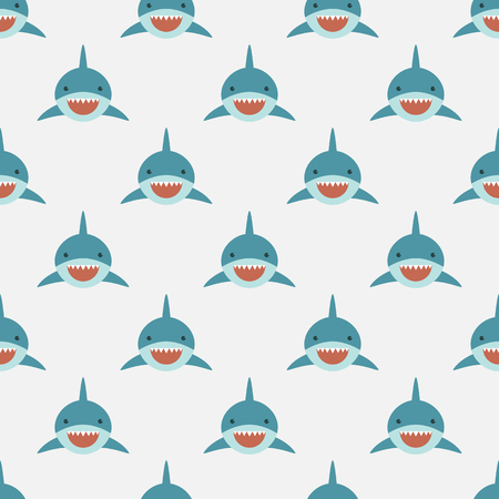 Shark seamless pattern. Cute shark front face in flat design. Background pattern for Diving and Snorkeling equipment shop, diving School or scuba club.