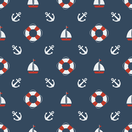 safe water: Summer seamless pattern with lifebuoys. Nautical seamless pattern with anchors, sailing boat, yachts.