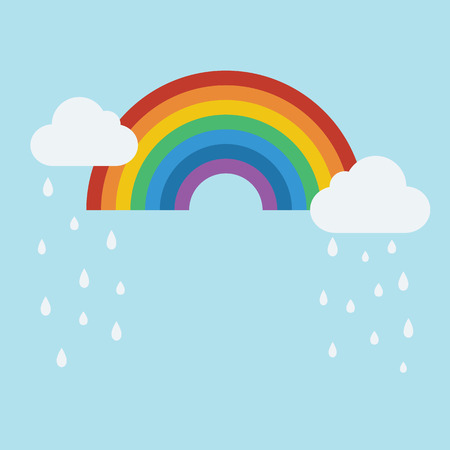 Rainy clouds and rainbow icon in flat style with shadow Vector Illustration. Illustration