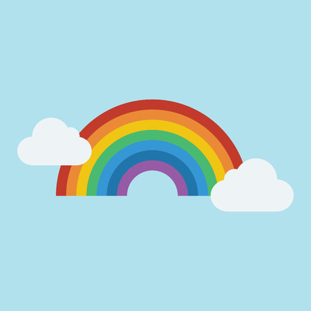 rainbow sky: Rainbow and cloud icon in flat style with shadow Vector Illustration.