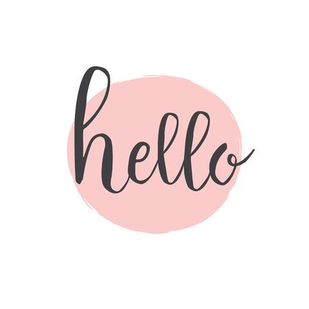 Bonjour la calligraphie. Stylo pinceau inscription avec cercle dessiné main rose pour voeux, carte d'invitation. Lettrage dessiné à la main - typographie pour logo, affiches, bannières, salutations de saison.