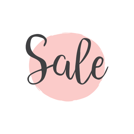 Sale Calligraphy Brush lettering with pink hand drawn circle for black fridayor boxing day. Typography for banner promotion code, special discount, deal, voucher, offer, coupon, and holiday sale. Illustration