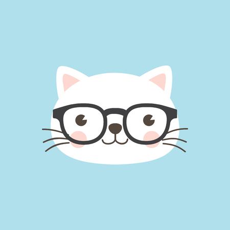 A cute white kitten wearing geek glasses on sky blue background. Illustration