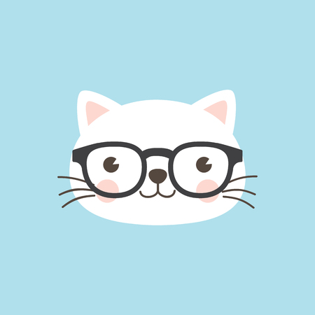 A cute white kitten wearing geek glasses on sky blue background. Vectores