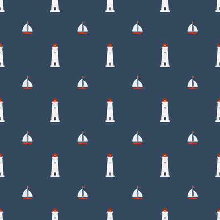 coast guard: Nautical seamless pattern with lighthouse icon on navy blue background. Summer seamless pattern with sailing boat, yachts. Illustration