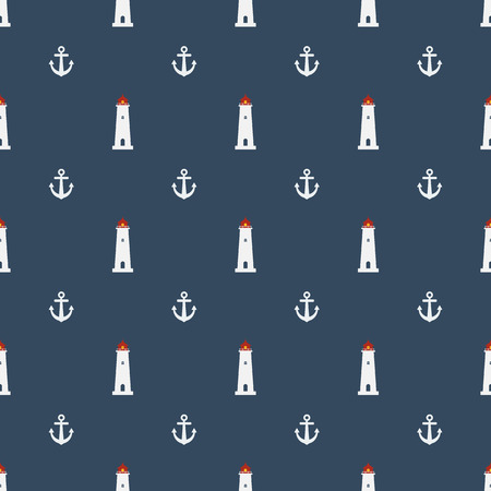 coast guard: Nautical seamless pattern with lighthouse icon on navy blue background. Summer seamless pattern with anchors.
