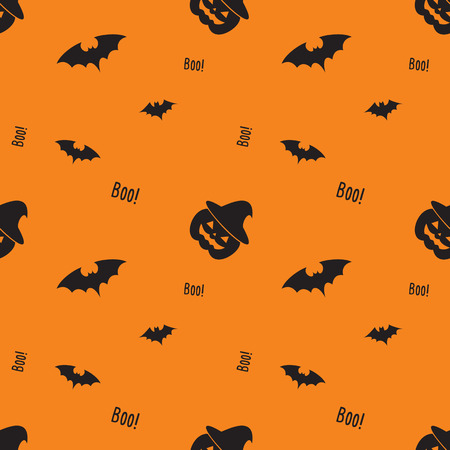 Happy Halloween pattern with pumpkin, bat , witch hat. Monster seamless pattern Vector illustration. Illustration