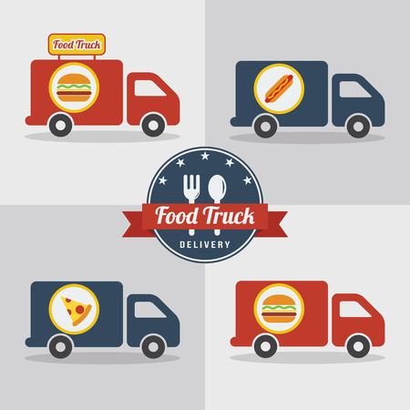Food truck flat design vector illustrations Illustration