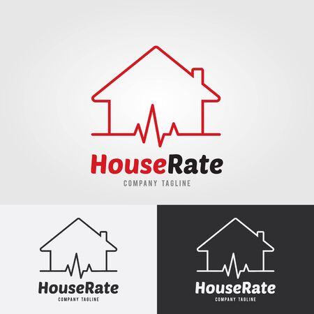 Modello di Logo di tasso di casa con frequenza cardiaca, ritmo cardiaco, icona di elettrocardiogramma.