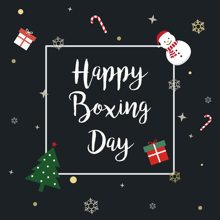 Happy Boxing Day Sale advertisement with text calligraphy and Ornament background. 矢量图像