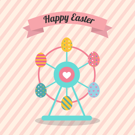 Easter Ferris Wheel with colorful Decorated Easter Eggs vector illustration flat design for Easter day and Happy Easter Cards.