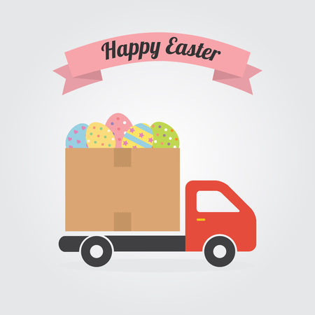 Delivery truck with colorful Decorated Easter Eggs vector illustration flat design for Easter day and Happy Easter Cards. Illustration