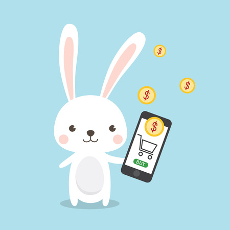Rabbit Cartoon Character Online shopping concept. A Cute Bunny transferring money with smartphone. Mobile money transfers .