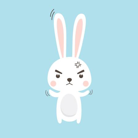 Angry Rabbit. Easter Bunny Vector illustration cartoon character. Illustration