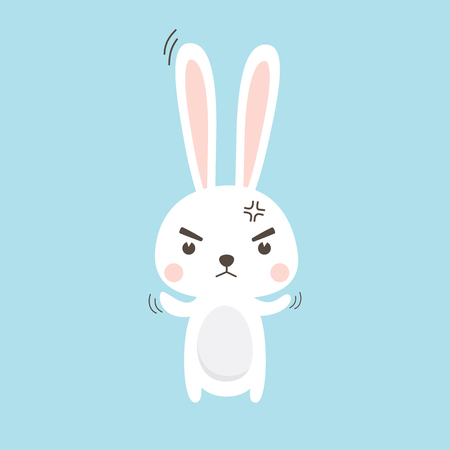 Angry Rabbit. Easter Bunny Vector illustration cartoon character. Illustration