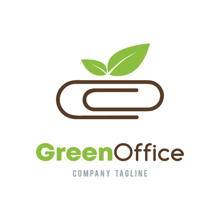 Green Office business abstract icon design. Organic Ecology company corporate consultant concept. Paper clip and green leave icon. Vectores