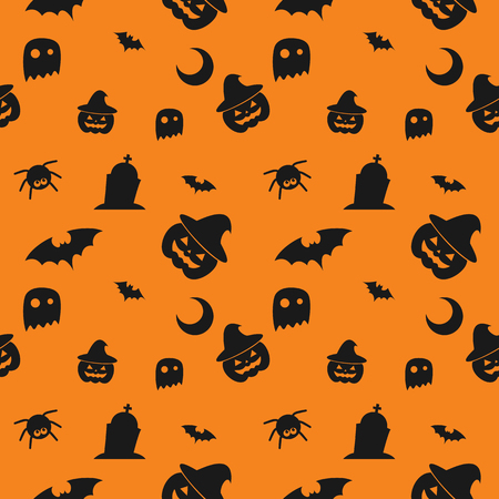 Halloween spider concept background for Halloween Party night. Seamless Pattern Halloween vector for Holiday with spider and web for banner, poster, greeting card, party invitation illustration.