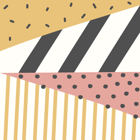 Geometric pattern memphis design. Abstract triangle colorful background with hand drawn stripe and polka dot Vector illustration.
