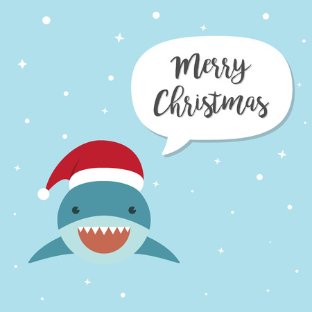 Shark cartoon character. A Cute shark wearing Santa Claus hat standing on marine blue background.Flat design Vector illustration for Merry Christmas and Happy New Year invitation card. Illustration