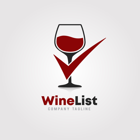 Wine List  logo template design.  A glass of wine with checkmark icon on white background vector illustration for wineries, bar and restaurants.
