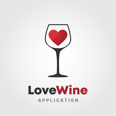 Love wine logo template design.  A glass of wine with red heart icon on white background vector illustration for wineries, bar and restaurants. Çizim