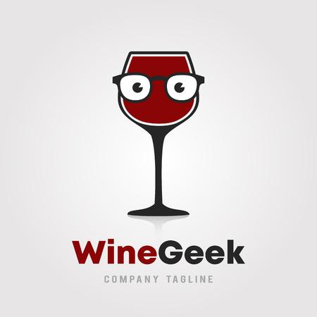 Progettazione del modello di logo di Wine Geek. Un bicchiere di vino con icona di occhiali hipster/nerd su sfondo bianco illustrazione vettoriale per cantine, bar e ristoranti. Logo