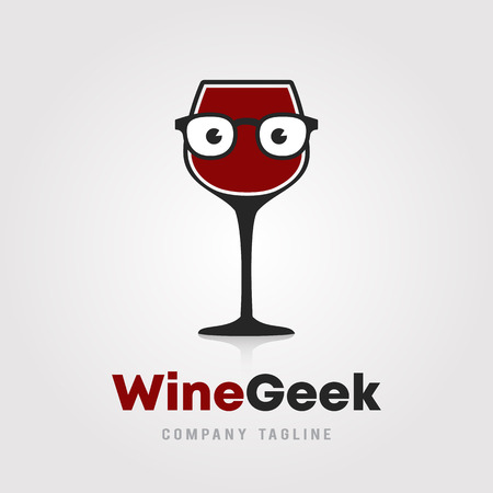 Wine Geek logo template design. A glass of wine with hipster/nerd glasses icon on white background vector illustration for wineries, bar and restaurants.
