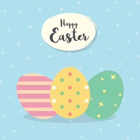 Easter eggs Vector illustration. Happy Easter Day with colorful eggs for Easter holidays invitation card, banner, Flyer design Illustration
