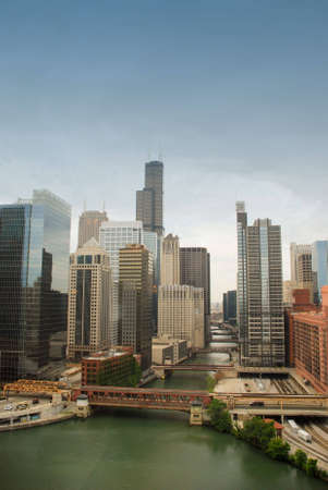 Chicago downtown, river and bridges photo