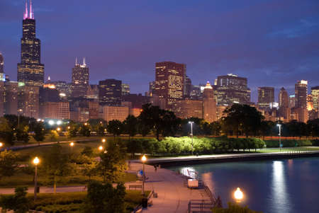 Chicago night photo photo