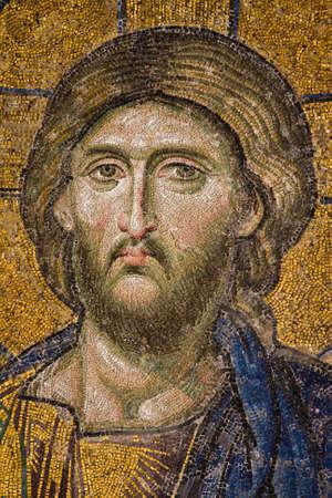 hagia: Mosaic figures in Hagia Sophia, Istanbul, Turkey, Europe Editorial