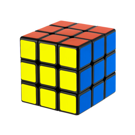 Isolated on white solved six faces classic Rubik 에디토리얼