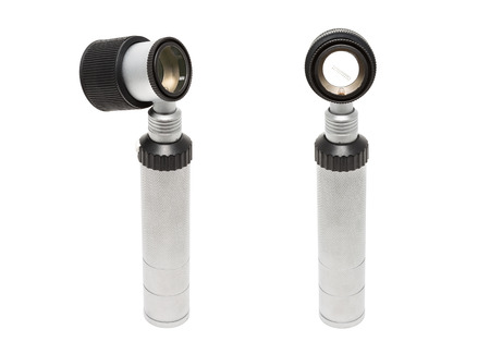 white metal: Isolated on white metal medical dermatoscope Stock Photo
