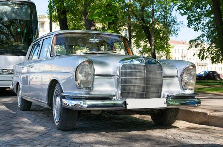 benz: Classic retro car Mercedes-Benz on the street