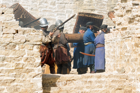 siege: Izborsk - August 17, 2015: reconstruction of the medieval siege, shooting the film