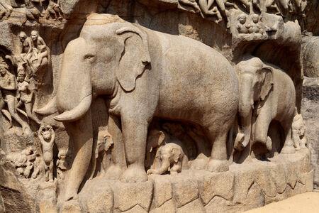mahabharata: Bas-relief sculpture in Mammallapuram, Chennai, Tamilnadu, India  Stock Photo