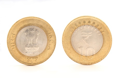 Closeup of Indian ten rupee coin both side, placed side by side, isolated on white photo