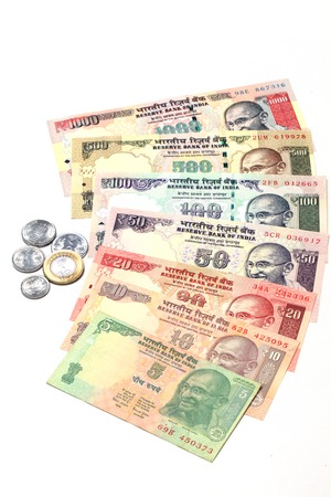 fiscal cliff: Indian currency notes and coins