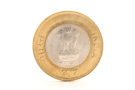 The new ten rupee coin backside isolated on white background photo