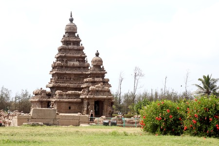 stricture: Seashore Temple,Mamallapuram, Chennai, India Stock Photo