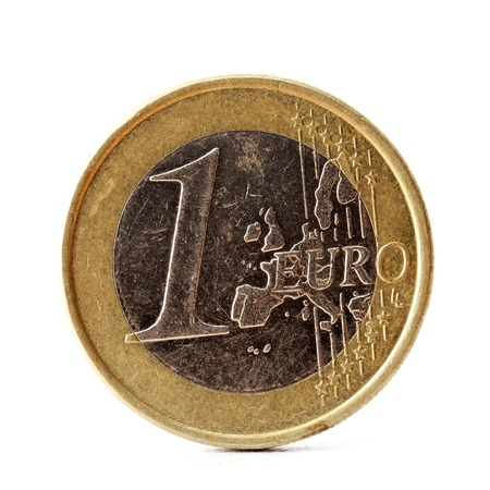 One euro coin on white background  photo