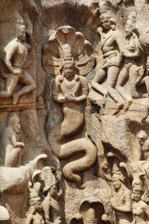 mahabharata: Bas-relief sculpture in Mammallapuram, Chennai, Tamilnadu, India  Stock Photo