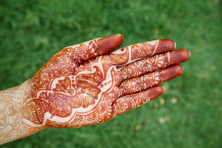 Beautiful hands with henna design  photo