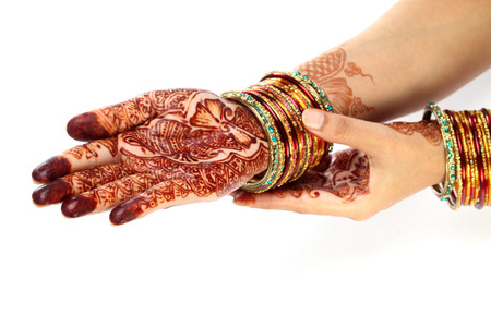 Traditional Indian woman hands with henna