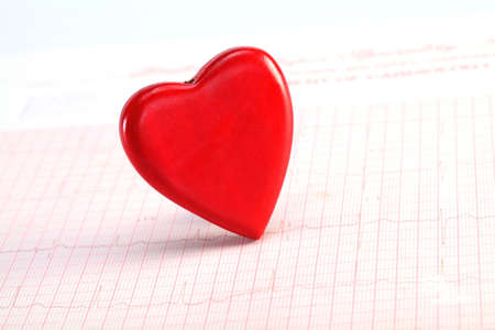 analise: Closeup of Red heart shape on ECG