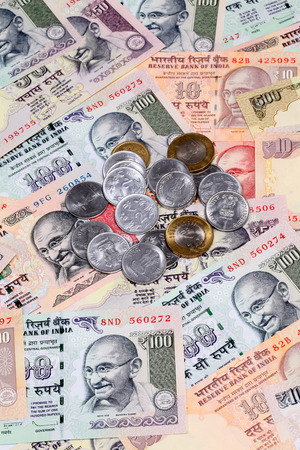 fiscal cliff: Indian rupee notes  and coins Stock Photo
