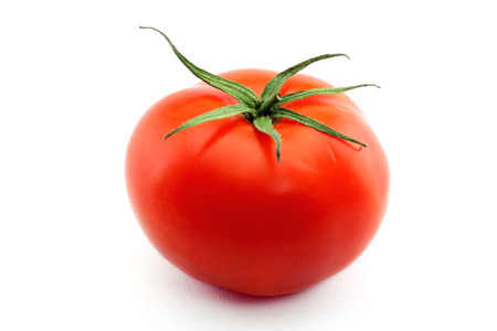 Tomato with drops isolated Stock Photo