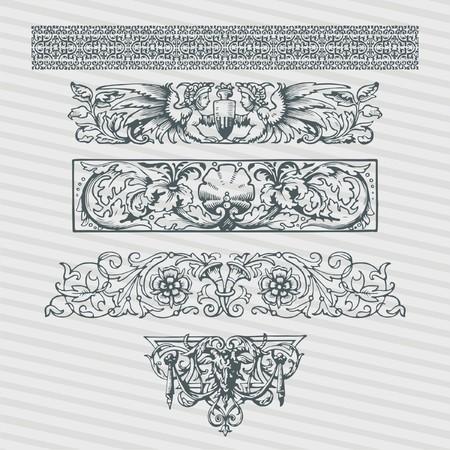 ベクトルは、アンティークバロック、ローマ、アラビアスタイルの装飾的な書道デザインでレトロな装飾パターンを持つヴィンテージ華やかなフレ